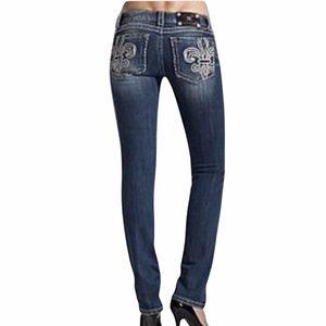 Miss Me Fleur De Lis skinny jeans  28